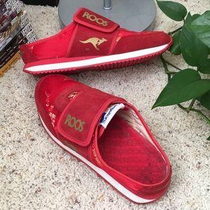Red Embroidered Slip-on Kangaroos (ROOS) Sneakers